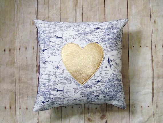 Gold Heart Pillow  - Cover - Navy airplanes - Gold pillow - metallic heart pillow - Air traffic control - Heart Pillow - travel gifts