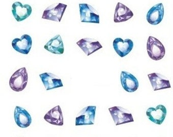 70pcs of gemstone nail decals/ Gems nail stickers/ Nail gemstones/ Diamond nail decals/ Diamond nail stickrs/ Nail decorations/ DS277
