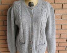 1980s Cardigan // Robert Scott Ltd. Wool Sweater // Vintage Grey Cardigan