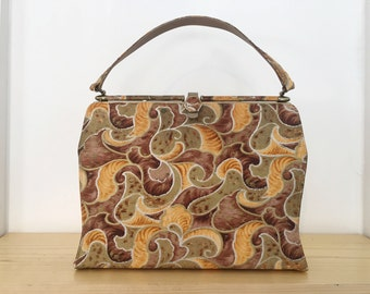 1960s Shades of Gold Purse // Vintage 1960s Swirling Leaves Bag // 60s Hand Bag