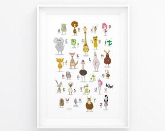 Printable Alphabet Poster, Illustrated Animal Poster, Wall Print Nursery, digital print, modern kids room print, printable nursery art