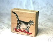 B Kliban Cat Rubber Stamp by Rubber STampede, Used Stamp, Kliban STamp, Cat in High Heels Stamp, Wood mounted Stamp, Funny Cat, cat Stamp,