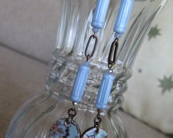pale blue earrings, paisley earrings, pale periwinkle earrings, long earrings, blue earrings, pale blue jewelry, long blue earrings, artisan