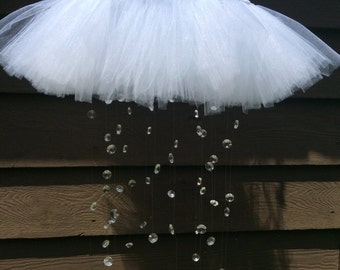 crystal baby mobile, tutu tiara mobile, princess mobile, princess decor, tutu mobile, baby mobile, tiara mobile, white baby mobile