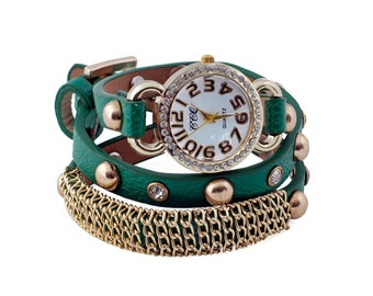 Diamanté Studded Green Wrap Watch