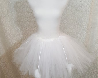 White Swan Tutu Set, ADULT White Costume, Angel Costume Set, Angel Tutu Set, Party Tutu, Halloween Costume, Teen/Adult Costume, Photo Prop