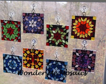 Stained Glass on Glass Mosaic - Geometric Square Suncatcher