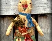 Primitive Folk Art Hippity Hoppity Rabbit in an Old Crazy Quilt Sack--Carrots--Farmhouse, Spring, Vintage, Hafair team,  MDCFAAP