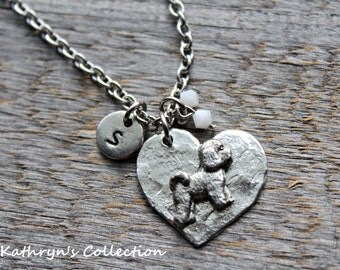 Bichon Frise Necklace, Bichon Jewelry, Bichon Frise, Bichon Gift, Heart Dog Jewelry, Dog Lover