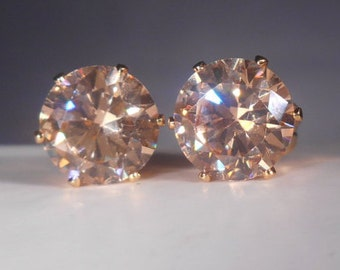 Champagne Morganite Stud Earrings|Simulated Man Made Diamonds|Lab Created Round 8mm| Champagne Morganite|14 Karat Gold Settings