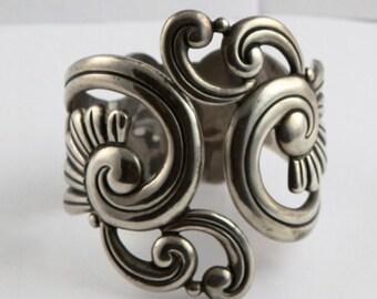 Fabulous Vintage Signed Taxco Cuff Bracelet Sterling Silver