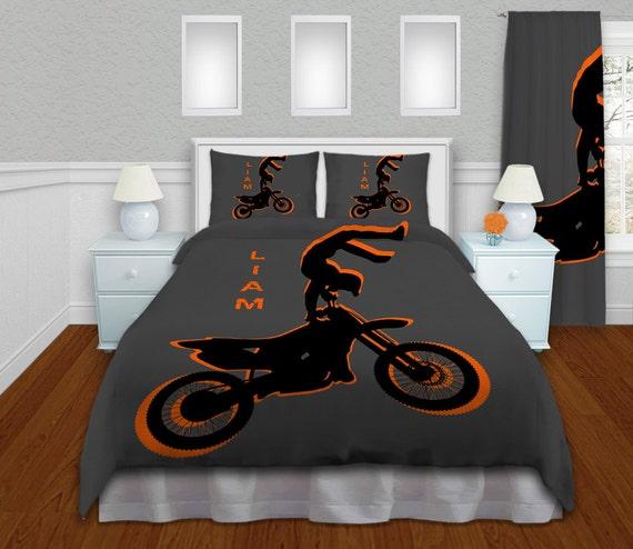 orange boys motocross bedding sets by eloquentinnovations on etsy