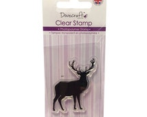 Dovecraft Stag Deer clear stamp. Sentiments card Craft ideas.