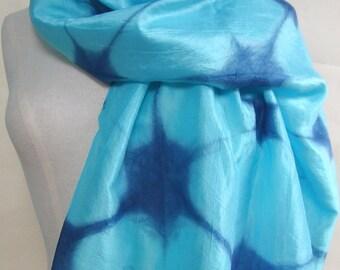 Silk scarf, indigo shibori scarf, Japanese indigo scarf, hand dyed scarf, upcycled scarf, turquoise and blue