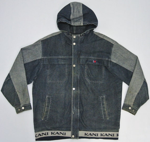 karl kani denim jacket men xlg karl kani jacket kani hooded. Black Bedroom Furniture Sets. Home Design Ideas