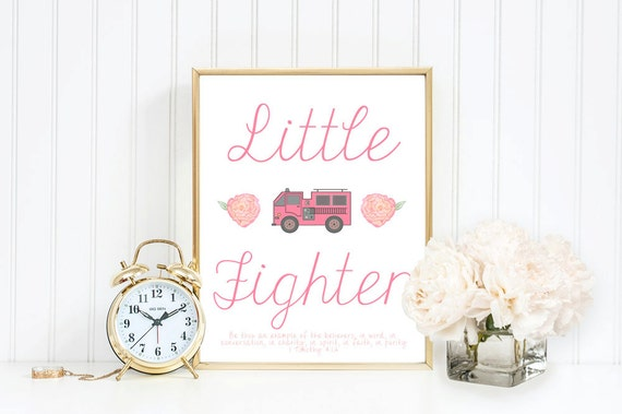 Firefighter Nursery Baby Girl Fireman Gift Fire By DaintyPress