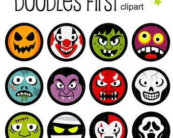 Halloween Faces Collage Sheets for Scrapbooking Card Making Cupcake Toppers Paper Crafts Digital Collage Sheet