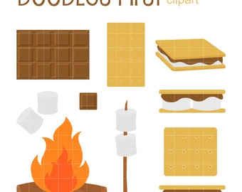Ooey Gooey Smores Clip Art for Scrapbooking Card Making Cupcake Toppers Paper Crafts