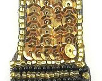 "Lipstick Appliqué with Fuchsia, Gold and Black Sequins and Beads  4.25"" x 1""  -15958"