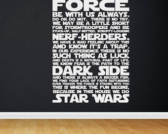 In this house we do STAR WARS, Star Wars quotes, Star Wars decal