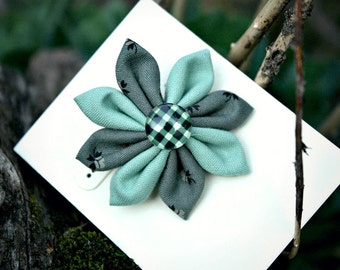 Green Vintage Fabric Hair Flower with Plaid Olive Center