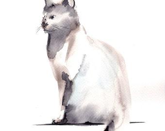 Cat Original Mininalist Watercolor Painting, Cat Watercolour Art