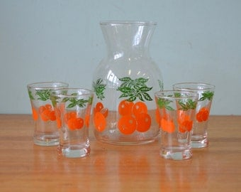 Retro glass tumblers and Pitcher orange glasses drinks 1970's jug and drinking glasses