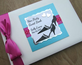 Hen Party Guest Book Personalised Retirement Birthday Memory Book Journal Gift Shoes & Hearts Turquoise Cerise