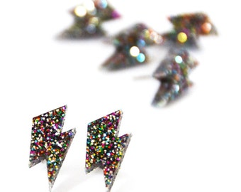 Lightning Bolt Earrings - Rainbow Glitter