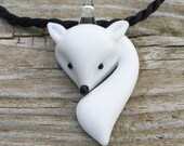 Arctic Fox Glass Necklace Earthy Nature Lover Wild and Free Wilderness  by The Wild Willows