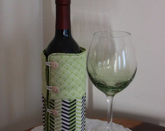 Wine Bottle Coozie - Great Hostess Gift - Green Beige Navy