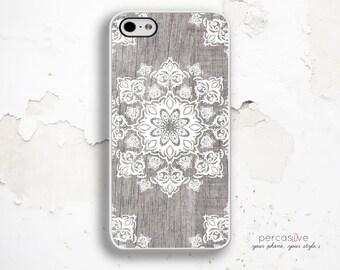 iPhone 6 Plus Case Floral Geometric - iPhone 5 Case Grey Wood Print, iPhone 6s Case White Floral iPhone 6s Plus Case Wood Geometric :1181
