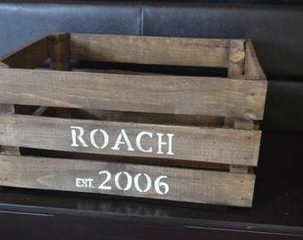 Rustic Personalized Wood Crate, Wedding Crate, Anniversary Crate