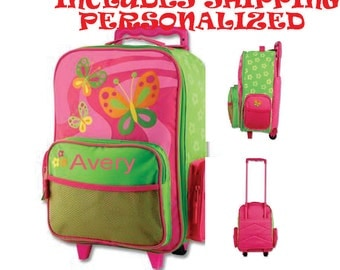 Includes Shipping!!! Personalized Stephen Joseph Butterfly Rolling Luggage