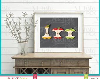 Eaten Apples Wall Art, Fruit Wall Art, Food wall art, Apples and pears wall art