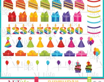 Birthday Clipart, Rainbow Clipart, Birthday Party, Celebration Clipart, Party Clipart