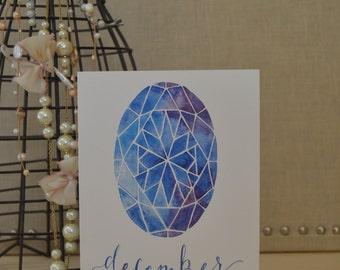December Card, December Birthday Card, Tanzanite, Watercolor Card, Happy Birthday Card, Hand Lettered Card, Tanzanite Watercolor