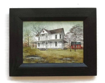 April Showers, Billy Jacobs, Art Print, Primitive Picture, Country Art, Wall Decor, Handmade, 9x7, Custom Wood Frame, Made in the USA
