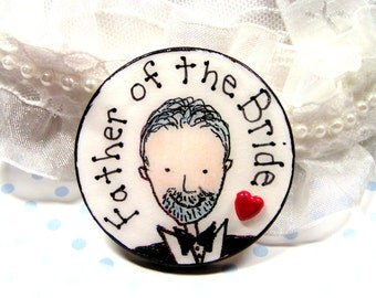 Father-of the Bride pin to wear to all those wedding related events,Father of Bride with gray hair and beard on wedding pin