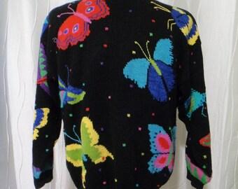 Butterfly Sweater, Butterflies (Size: Women's Large?) Garden Club, Flower Club, Butterfly World, Christine Foley