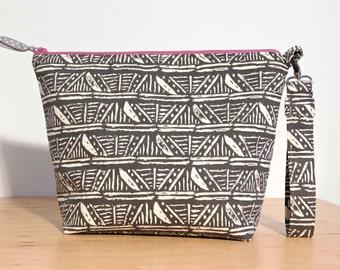 Large Cosmetic Bag, Travel Makeup Bag, Stroller Bag Clutch, Grey Clutch Bag, Makeup Storage, Gift for Women, Diaper Bag Clutch, Toiletry Bag