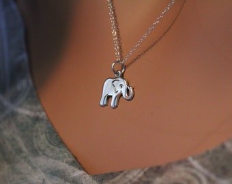 Sterling Silver Elephant Necklace, Elephant Charm Necklace, Sterling Silver Elephant Pendant Necklace, Elephant Necklace, Safari Necklace