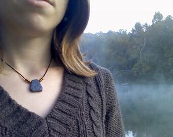 Lapis Lazuli (Grade B) Token Necklace - Simple Stones Collection