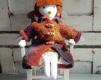 Handmade birthday doll, rag doll, OOAK cloth doll, gift doll, fabric doll, hand knitted anniversary gift,  birthday doll, No 9