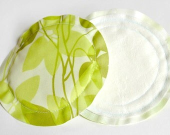 No Show Nursing Pads for Breastfeeding Mom in Green Leaf Print Heavy Absorbency MORE PRINTS AVAILABLE
