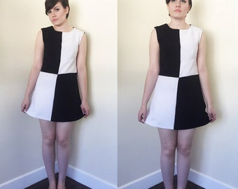 Handmade Colour Block Dress in Black and White - 1990s Does 1960s