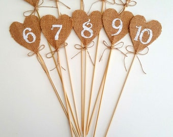 hand stencilled table numbers
