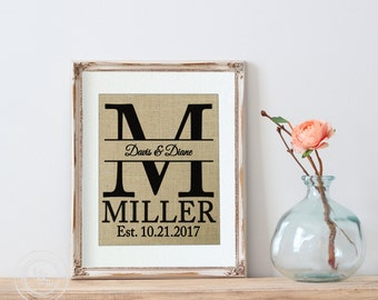 Our First Home Personalized Burlap Wall Decor- Housewarming Gift - Family Name Sign - New House Gift