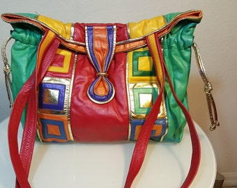 FREE  SHIPPING  Vintage Abstract Leather Handbag