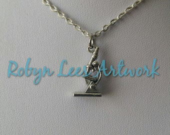 Small 3D Silver Microscope Charm Necklace on Silver Crossed Chain or Black Faux Suede Cord